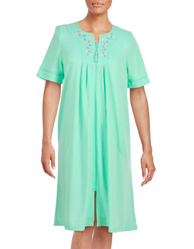 Jasmine Rose Plus Embroidered Zip Front Robe-MINT-Small plus size,  plus size fashion plus size appare