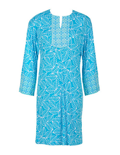Jasmine Rose Caftan Printed Sleep Gown-TEAL-Large plus size,  plus size fashion plus size appare