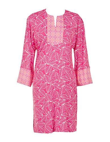 Jasmine Rose Caftan Printed Sleep Gown-FUSCHIA-Medium plus size,  plus size fashion plus size appare