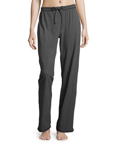 Lord & Taylor Printed Pima Cotton Drawstring Pants-BLACK-Medium 88777620_BLACK_Medium