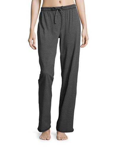 Lord & Taylor Printed Pima Cotton Drawstring Pants-BLACK-Small 88777619_BLACK_Small