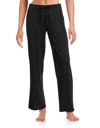 Lord & Taylor Pima Cotton Drawstring Jogging Pants-BLACK-Medium 88507966_BLACK_Medium