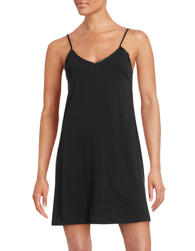 Lord & Taylor Pima Cotton Short Chemise-BLACK-Medium