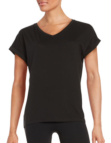 Lord & Taylor V-Neck Cotton T-Shirt-BLACK-Small