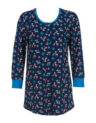 Jasmine Rose Deer Graphic Henley Night Shirt-BLUE-Medium