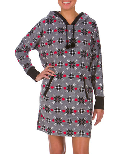 Buffalo David Bitton Boxed Hooded Mixed-Graphic Nightshirt-GREY-Large