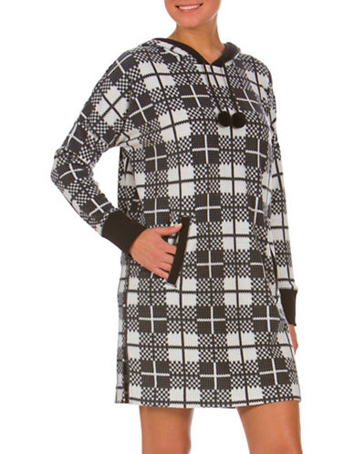 Buffalo David Bitton Boxed Cozy Hooded Checked Nightshirt-BLACK-Small
