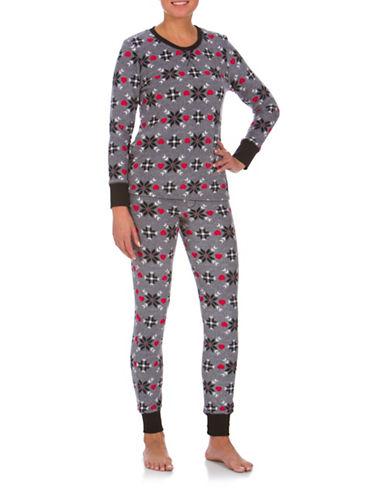 Buffalo David Bitton Boxed Two-Piece Cozy Long Jane Mixed-Graphic Pyjama Set-GREY-Medium