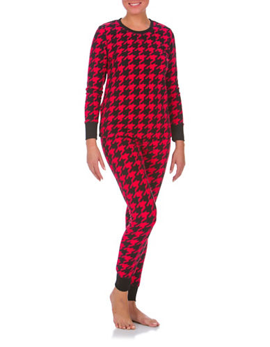 Buffalo David Bitton Boxed Two-Piece Cozy Long Jane Houndstooth Pyjama Set-RED-Large