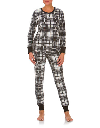 Buffalo David Bitton Boxed Two-Piece Cozy Long Jane Checked Pyjama Set-BLACK-Large