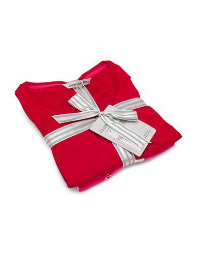Jasmine Rose Two-Piece Alpaca Pyjama Set-RED-Large