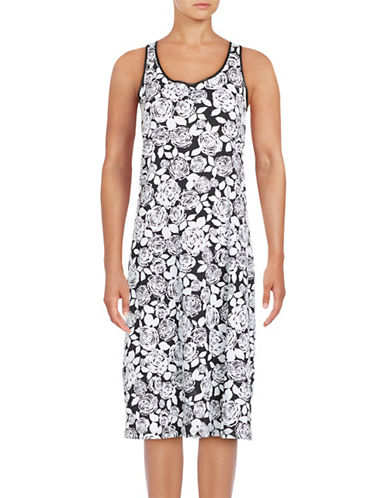 Lord & Taylor Long Printed Sleeveless Chemise-WHITE-Medium 88908321_WHITE_Medium