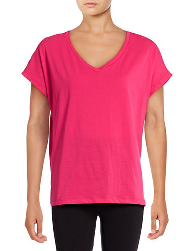 Lord & Taylor Boxy Pima Cotton V-Neck T-Shirt-PINK-Large 88848755_PINK_Large