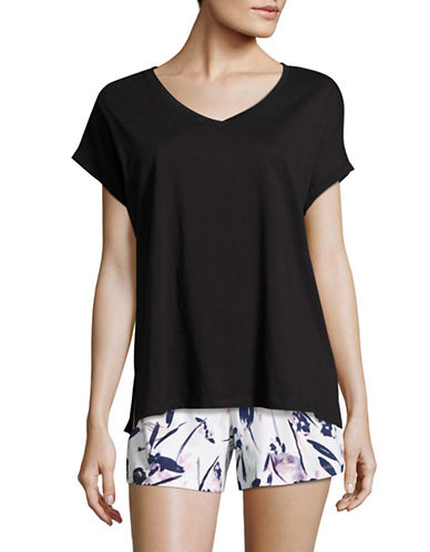Lord & Taylor Boxy T-Shirt-BLACK-Medium