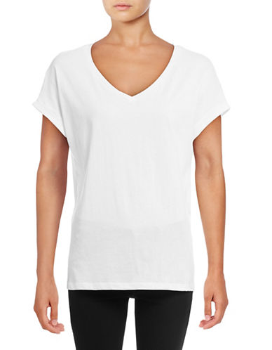 Lord & Taylor Boxy T-Shirt-WHITE-Medium