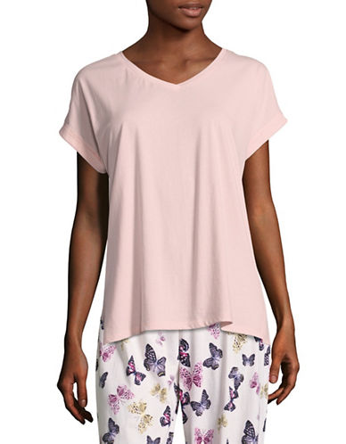 Lord & Taylor Boxy Pima Cotton V-Neck T-Shirt-PINK-Small 89107250_PINK_Small