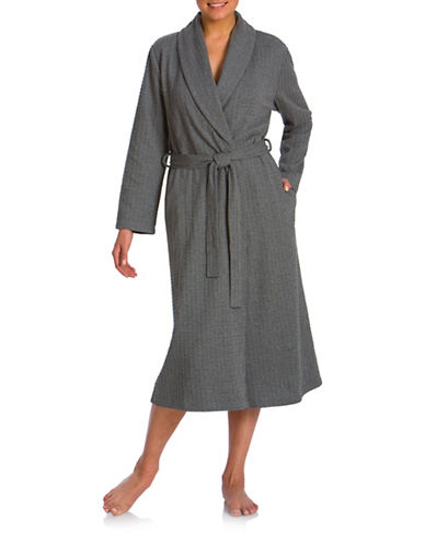 Jasmine Rose Shawl Collar Wrap Robe-GREY-Small