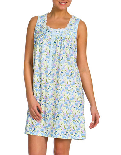 Jasmine Rose Floral Printed Sleeveless Nightgown-BLUE-Small