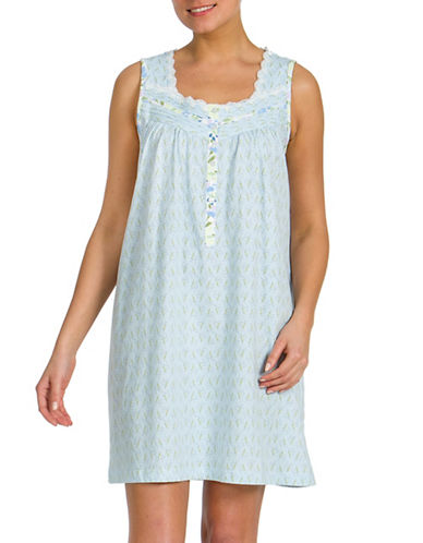 Jasmine Rose Lace-Trimmed Printed Sleeveless Nightgown-BLUE-Small
