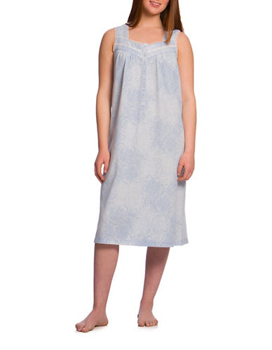 Jasmine Rose Lace-Trimmed Sleeveless Gown-BLUE-Small