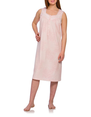 Jasmine Rose Lace-Trimmed Sleeveless Gown-PINK-Medium