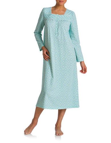 Jasmine Rose Printed Ballet Nightgown-BLUE-1X
