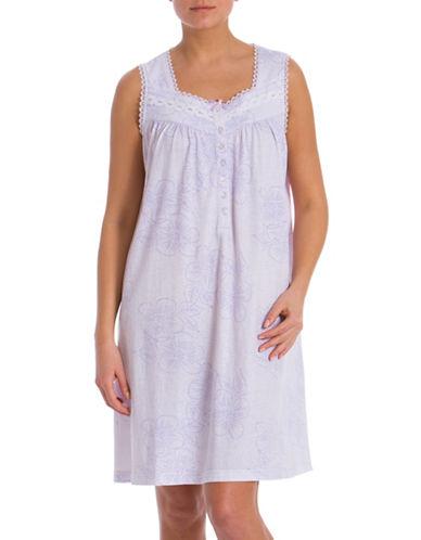 Jasmine Rose Lace Trim Sleeveless Nightgown-LILAC-Small