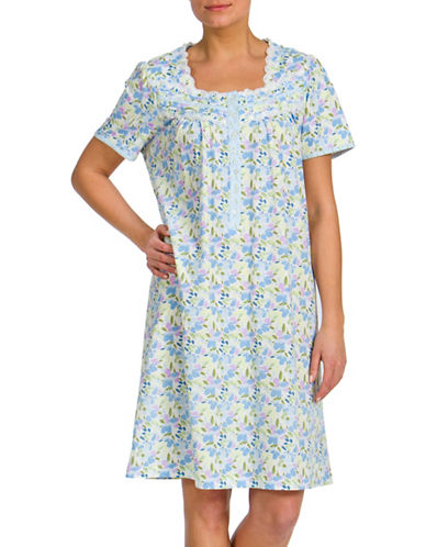 Jasmine Rose Floral Printed Button-Front Nightgown-BLUE-Small