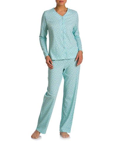 Jasmine Rose Two-Piece Printed Pyjamas Set-BLUE-Large