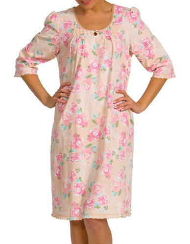 Jasmine Rose Floral Printed Nightgown-BROWN-Medium