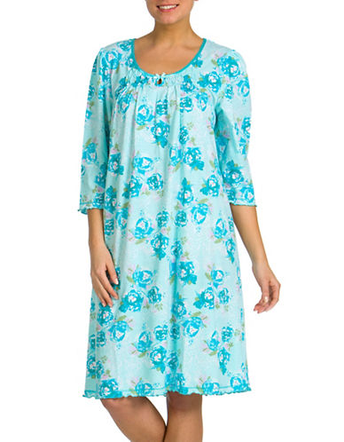 Jasmine Rose Floral Printed Nightgown-AQUA-Small