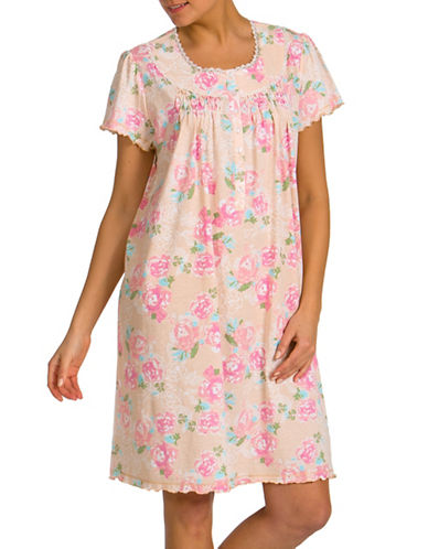 Jasmine Rose Printed Nightgown-BROWN-Small