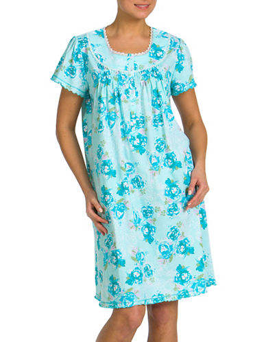 Jasmine Rose Printed Nightgown-AQUA-Medium