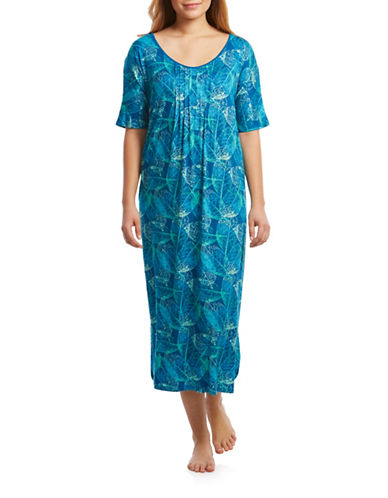 Jasmine Rose Pintucked Caftan-BLUE-Small/Medium