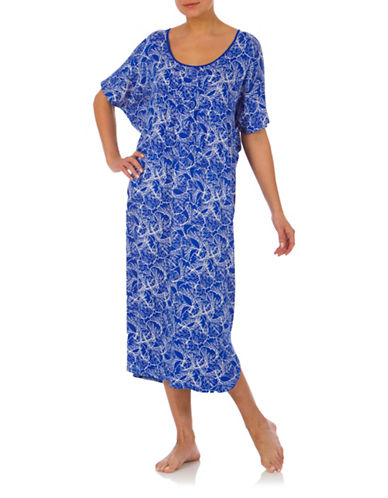 Jasmine Rose Floral Print Kaftan-BLUE-Small/Medium