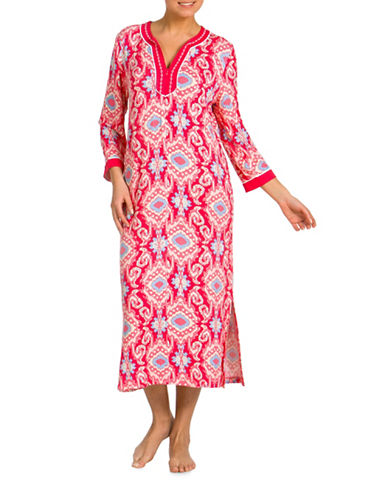 Jasmine Rose Cereza Embroidered Caftan-RED-Small