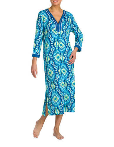 Jasmine Rose Cereza Embroidered Caftan-RUSH BLUE-Small