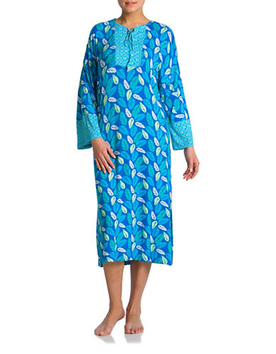Jasmine Rose Combo Print Kaftan-BLUE-Medium