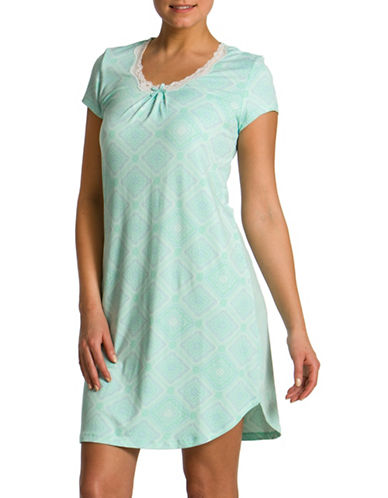 Jasmine Rose Floral Print Night Shirt-SOFT AQUA-Medium