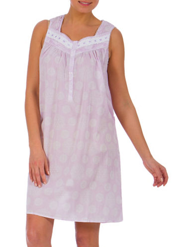 Jasmine Rose Short Sleeve Lace and Ribbon Nightgown-LILAC-Small