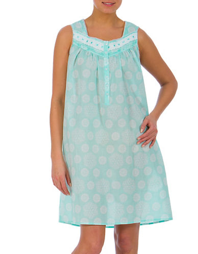 Jasmine Rose Short Sleeve Lace and Ribbon Nightgown-AQUA BLUE-Medium