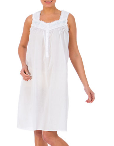 Jasmine Rose Sleeveless Cotton Gown-WHITE-Small