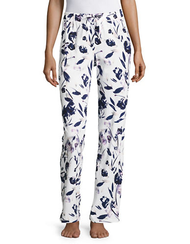 Lord & Taylor Printed Sleep Pants-PURPLE FLORAL-Medium