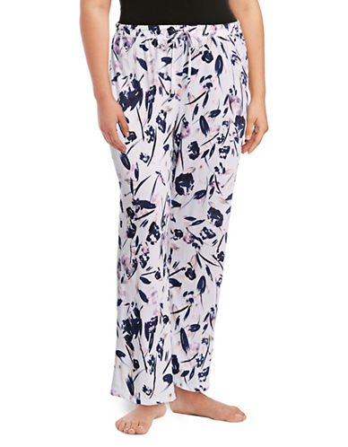 Lord & Taylor Plus Printed Sleep Pants-PURPLE FLORAL-1X