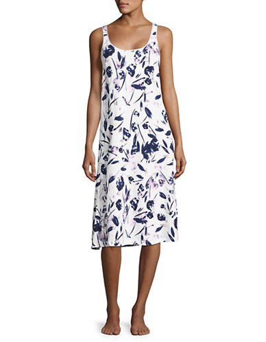 Lord & Taylor Pima Cotton Long Chemise-PURPLE FLORAL-Small