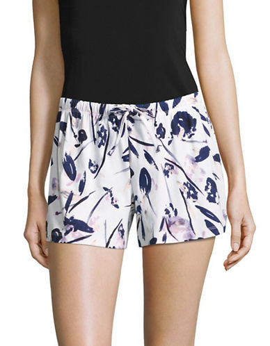 Lord & Taylor Drawstring Striped Boxers-PURPLE FLORAL-Medium