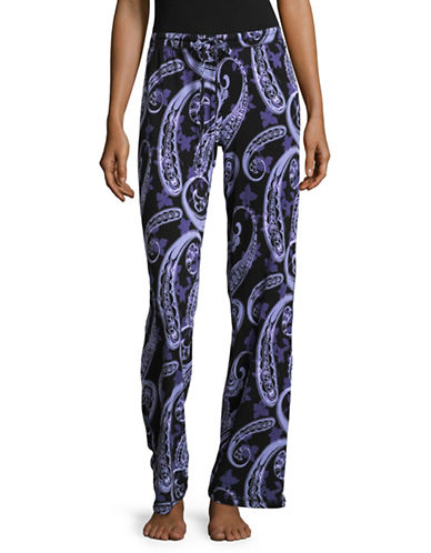 Lord & Taylor Printed Sleep Pants-PURPLE PAISLEY-Large