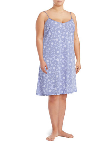 Lord & Taylor Plus Pima Cotton Chemise-PURPLE-3X