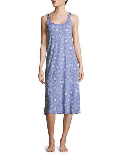 Lord & Taylor Pima Cotton Long Chemise-BOLD FLORAL-Small