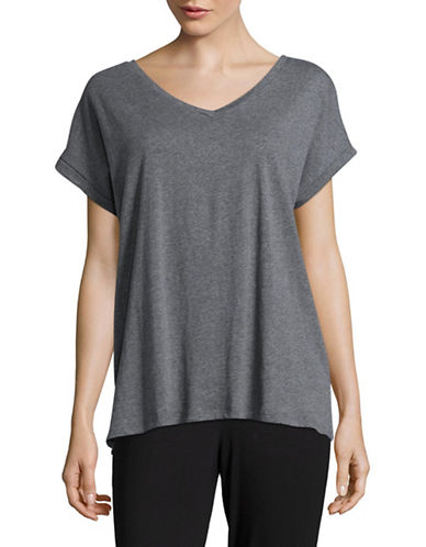 Lord & Taylor Boxy T-Shirt-HEATHER GREY-X-Large